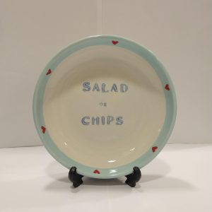 KITCHEN RULES SERVING BOWL Salad or Chips? Our lovely serving bowl from the Kitchen Rules range. Hand-painted, unique design, made to order (pattern might slightly differ from picture).